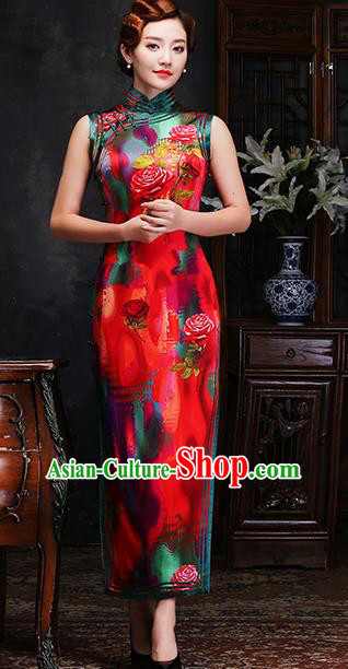 Traditional Chinese Printing Roses Red Silk Cheongsam Mother Tang Suit Qipao Dress for Women