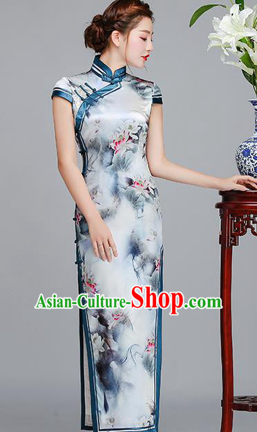 Traditional Chinese Printing Lotus Light Blue Silk Cheongsam Mother Tang Suit Qipao Dress for Women