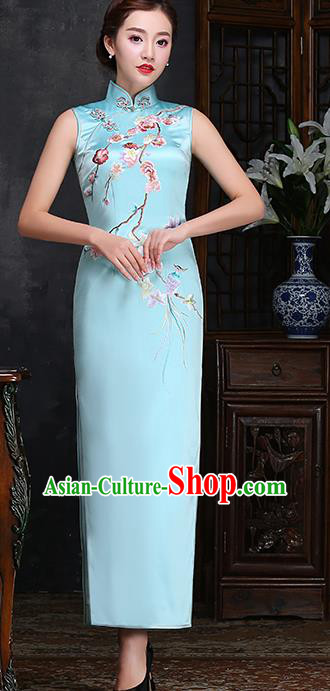 Traditional Chinese Embroidered Plum Blue Silk Cheongsam Mother Tang Suit Qipao Dress for Women