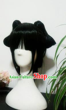 Traditional Chinese Cosplay Princess Black Wigs Sheath Ancient Female Swordsman Chignon for Women