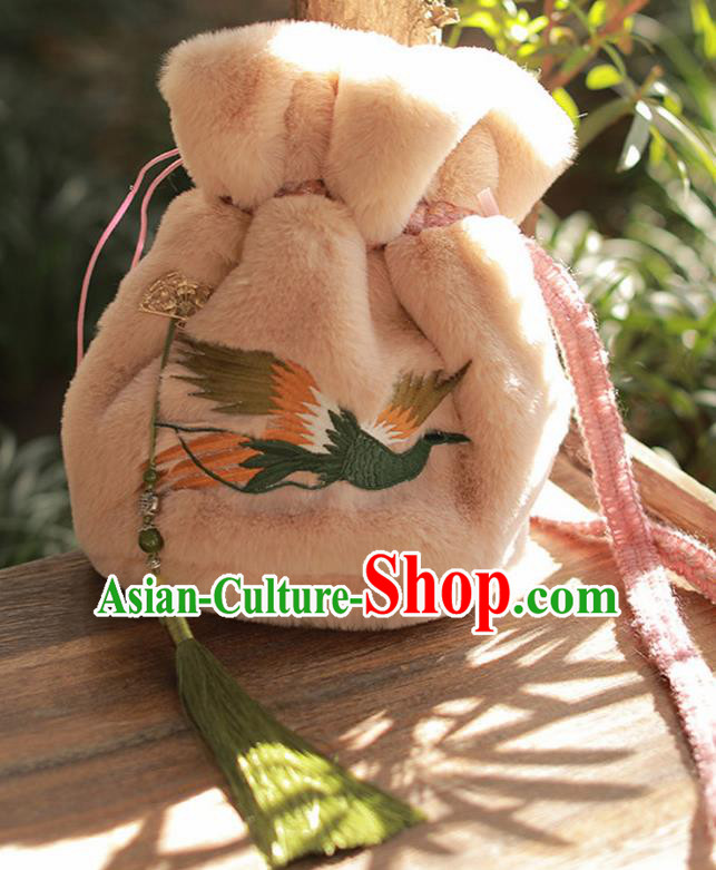 Traditional Chinese Ancient Termofor Embroidered Crane Pink Bag