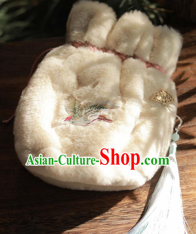 Traditional Chinese Ancient Termofor Embroidered Crane White Bag
