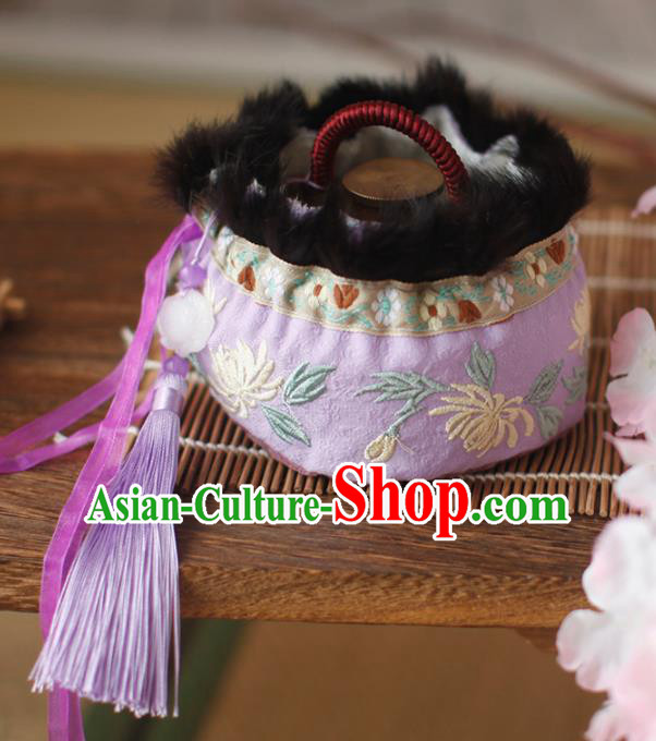Traditional Chinese Ancient Termofor Cover Embroidered Chrysanthemum Purple Brocade Bag