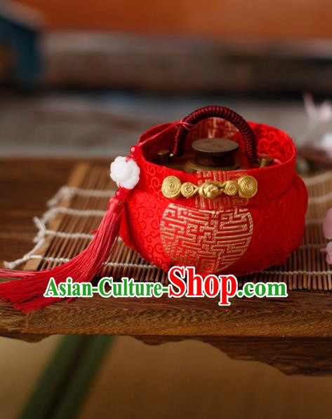 Traditional Chinese Ancient Termofor Cover Embroidered Red Brocade Bag
