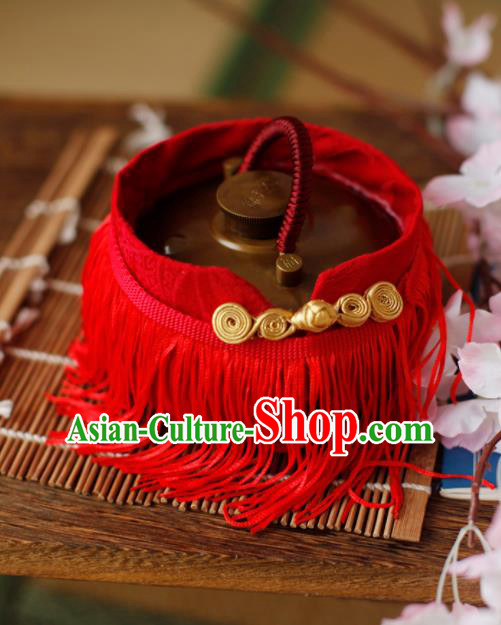 Traditional Chinese Ancient Termofor Cover Embroidered Red Tassel Brocade Bag