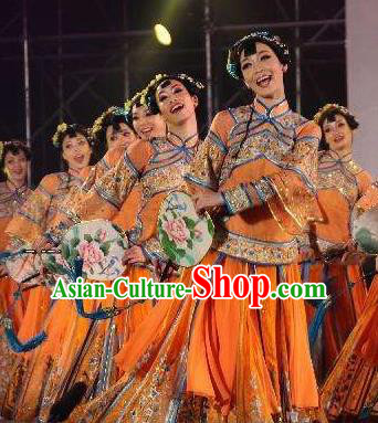 Chinese South Beauty Classical Dance Fan Dance Dress Stage Performance Costume and Headpiece for Women