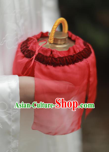 Traditional Chinese Ancient Termofor Cover Embroidered Red Veil Bag