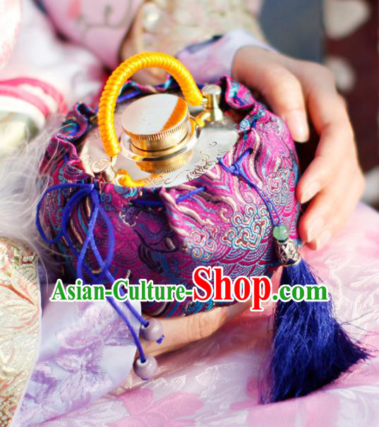 Traditional Chinese Ancient Termofor Cover Wave Pattern Purple Brocade Bag