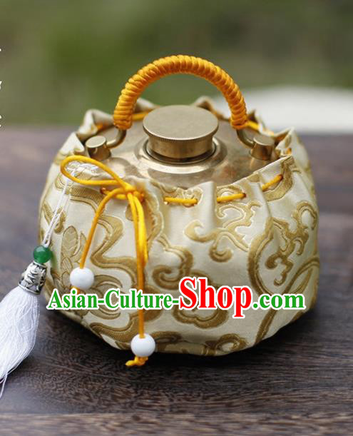 Traditional Chinese Ancient Termofor Cover Embroidered Pattern Light Golden Brocade Bag