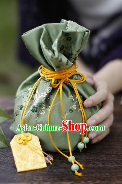 Traditional Chinese Ancient Termofor Cover Embroidered Plum Pattern Green Brocade Bag