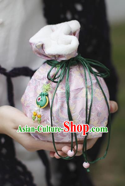 Traditional Chinese Ancient Termofor Cover Embroidered Pattern Pink Brocade Bag