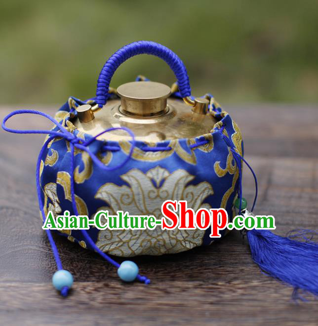 Traditional Chinese Ancient Termofor Cover Embroidered Pattern Royalblue Brocade Bag