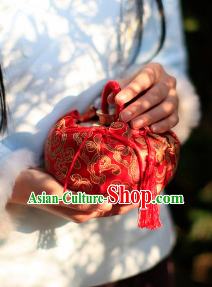 Traditional Chinese Ancient Termofor Cover Embroidered Pattern Red Brocade Bag