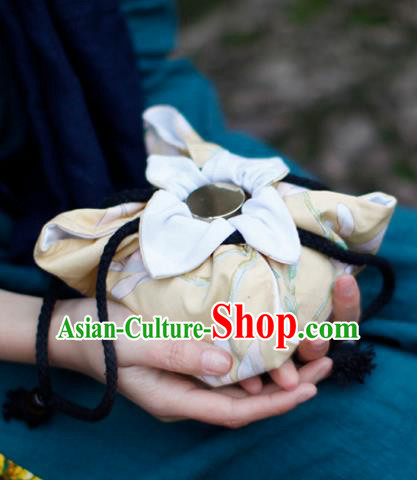 Traditional Chinese Ancient Termofor Cover Magnolia Pattern Yellow Cloth Bag