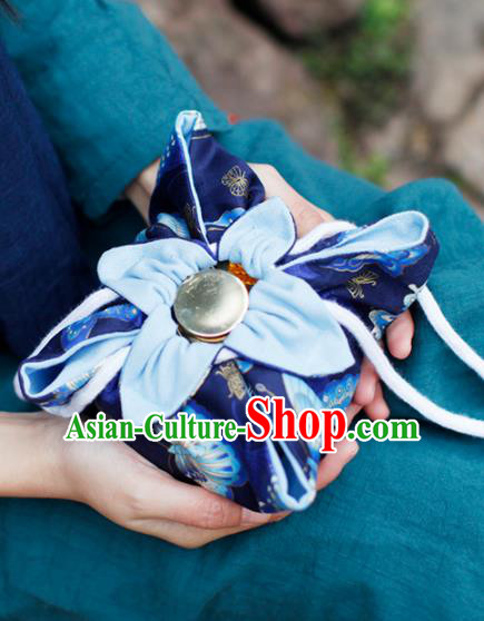 Traditional Chinese Ancient Termofor Cover Butterfly Pattern Royalblue Cloth Bag