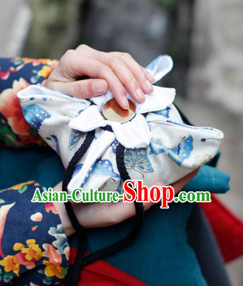 Traditional Chinese Ancient Termofor Cover Butterfly Pattern White Cloth Bag