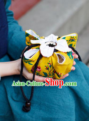 Traditional Chinese Ancient Termofor Cover Classical Flowers Pattern Yellow Cloth Bag