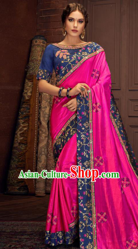Asian Indian Court Rosy Silk Embroidered Sari Dress India Traditional Bollywood Costumes for Women