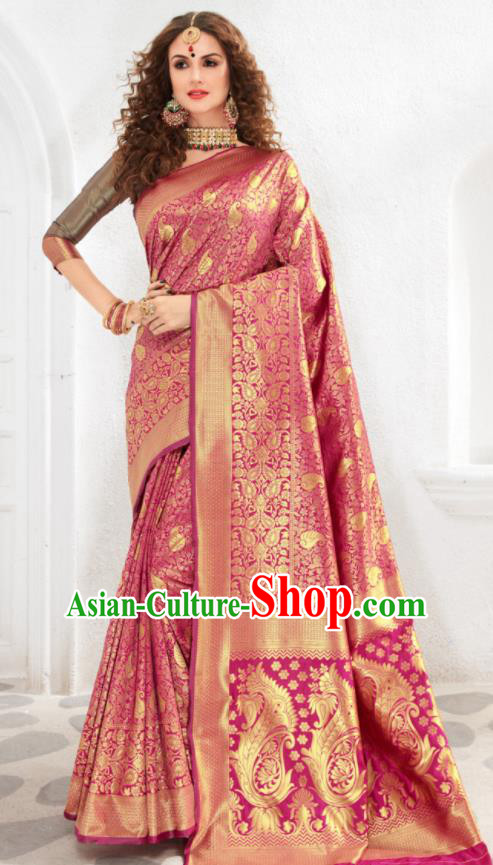 Asian Indian Court Rosy Silk Sari Dress India Traditional Bollywood Costumes for Women