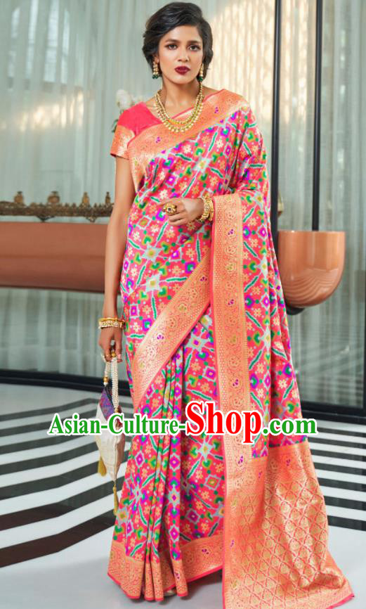 Asian Indian Court Rosy Silk Sari Dress India Traditional Festival Bollywood Costumes for Women