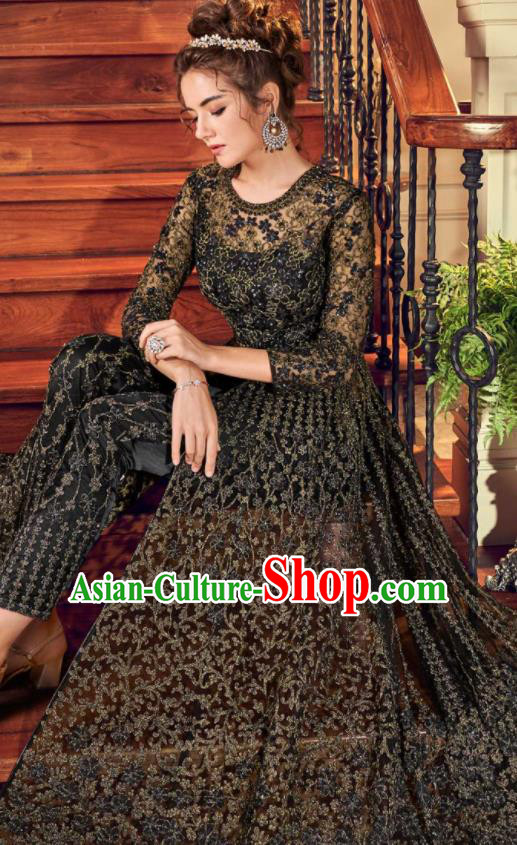 Asian Indian Embroidered Black Blouse and Pants India Traditional Lehenga Choli Costumes Complete Set for Women