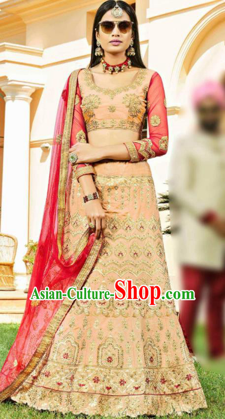 Asian Indian Bollywood Embroidered Pink Cotton Silk Dress India Traditional Festival Lehenga Court Costumes for Women