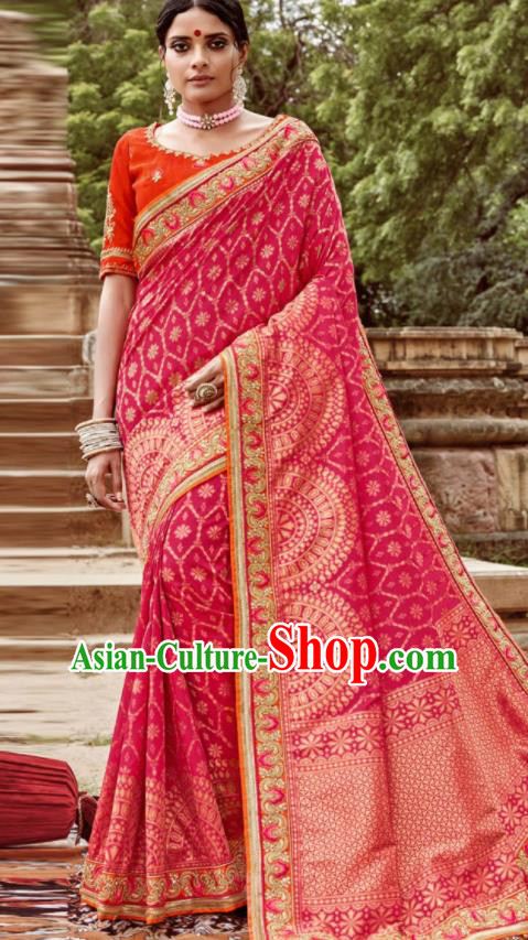 Asian Indian Bollywood Bride Embroidered Rosy Sari Dress India Traditional Court Wedding Costumes for Women