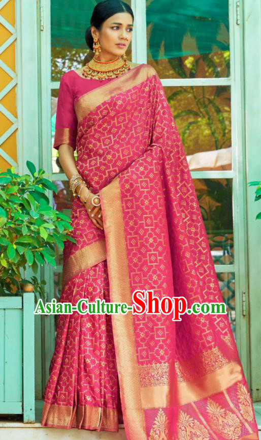 Asian Traditional Indian Court Queen Rosy Silk Sari Dress India National Festival Bollywood Costumes for Women