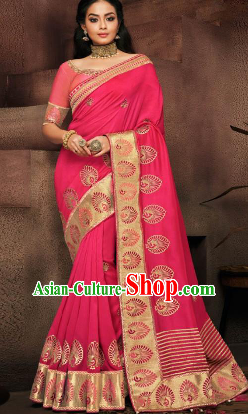Indian Traditional Court Bollywood Rosy Satin Sari Dress Asian India National Festival Costumes for Women