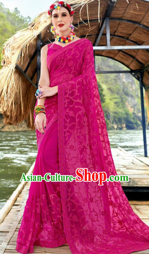 Indian Traditional Bollywood Court Embroidered Rosy Georgette Sari Dress Asian India National Festival Costumes for Women