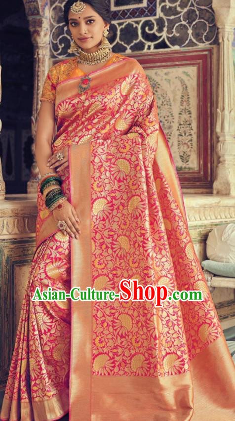 Indian Traditional Festival Rosy Silk Sari Dress Asian India National Court Bollywood Costumes for Women