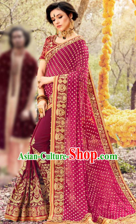 Indian Traditional Festival Rosy Georgette Sari Dress Asian India National Court Bollywood Costumes for Women