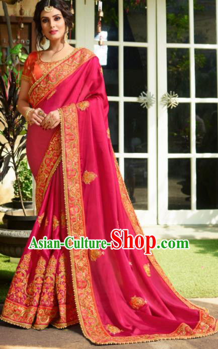 Traditional Indian Court Bride Embroidered Rosy Sari Dress Asian India National Bollywood Costumes for Women