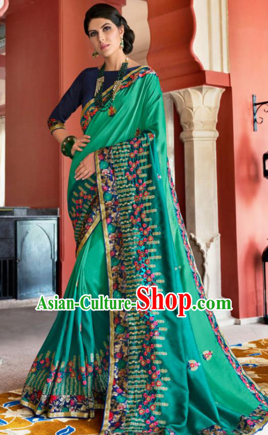 Traditional Indian Court Queen Embroidered Green Silk Sari Dress Asian India National Bollywood Costumes for Women