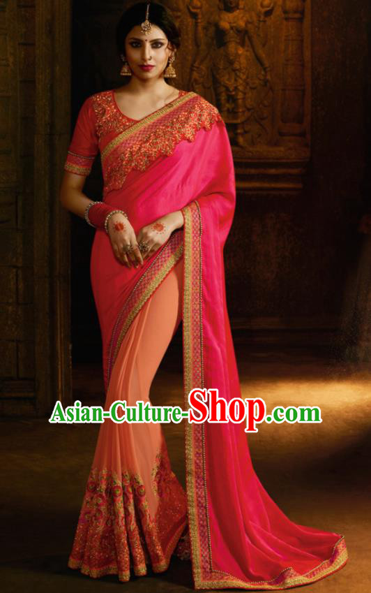 Traditional Indian Court Queen Embroidered Rosy Georgette Sari Dress Asian India National Bollywood Costumes for Women