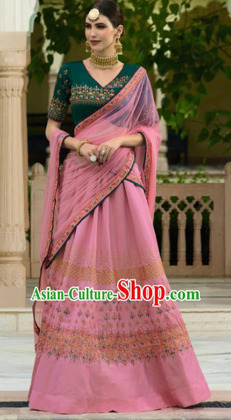Traditional Indian Court Queen Embroidered Pink Georgette Sari Dress Asian India National Bollywood Costumes for Women