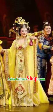 Chinese Chuansi Gongzhu Classical Dance Queen Dress Stage Performance Dance Costume and Headpiece for Women