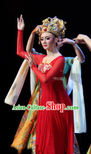 Chinese Chuansi Gongzhu Classical Dance Red Dress Stage Performance Dance Costume and Headpiece for Women