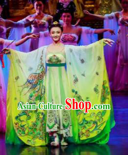 Chinese Chuansi Gongzhu Classical Dance Green Dress Stage Performance Dance Costume and Headpiece for Women