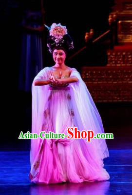 Chinese Chuansi Gongzhu Classical Dance Pink Dress Stage Performance Dance Costume and Headpiece for Women