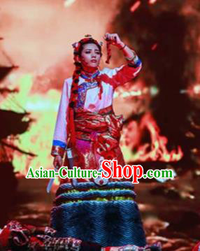 Chinese A Common Home Zang Nationality Red Dress Stage Performance Dance Costume and Headpiece for Women