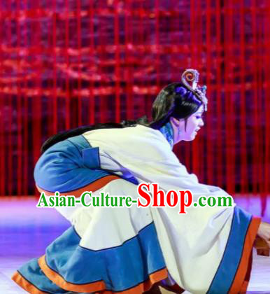 Lady Zhaojun Chinese Han Dynasty Dance White Dress Stage Performance Dance Costume and Headpiece for Women