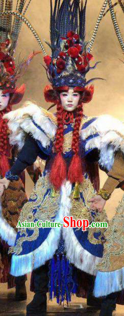 Chinese Pingtan Impression Classical Dance Royalblue Dress Stage Performance Dance Costume and Headpiece for Women