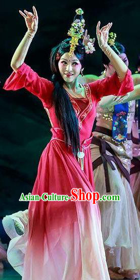 Chinese Lady Zhaojun Ancient Classical Dance Rosy Dress Stage Performance Dance Costume and Headpiece for Women