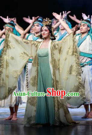 Guan Gong Chinese Classical Dance Ancient Princess Dress Stage Performance Dance Costume and Headpiece for Women