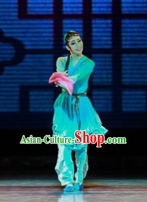 Sunsets Chinese Classical Dance Xiao Qing Green Dress Stage Performance Dance Costume and Headpiece for Women