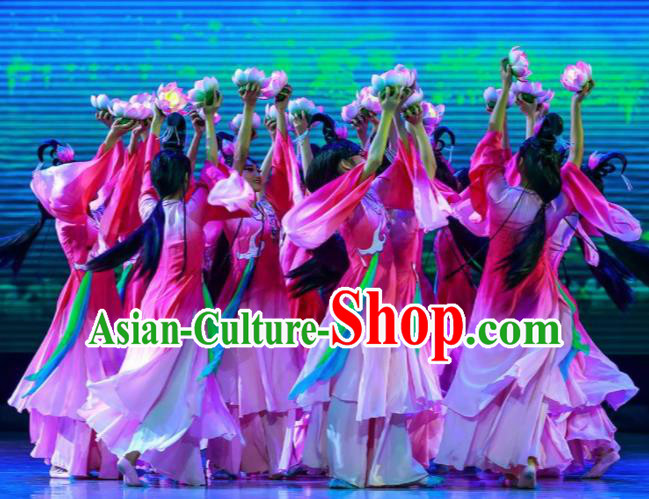 Sunsets Chinese Classical Dance Rosy Dress Stage Performance Dance Costume and Headpiece for Women