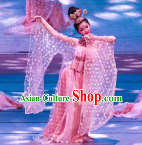 Meet Millennium Chinese Classical Dance Pink Dress Stage Performance Dance Costume and Headpiece for Women
