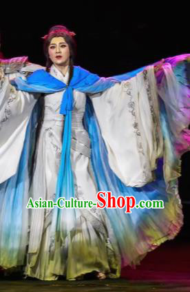 Xiao Qiao Marriage Chinese Peking Opera White Dress Stage Performance Dance Costume and Headpiece for Women