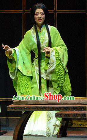 Xiao Qiao Marriage Chinese Peking Opera Green Dress Stage Performance Dance Costume and Headpiece for Women
